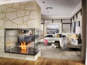Stone veneer fireplace installation