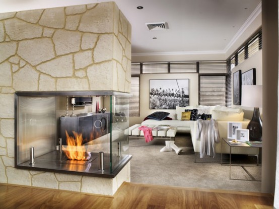 Fieldstone fireplace image