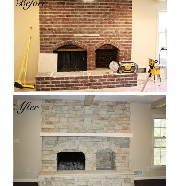 Canyon Stone Fireplace Refacing Before and Fater Images