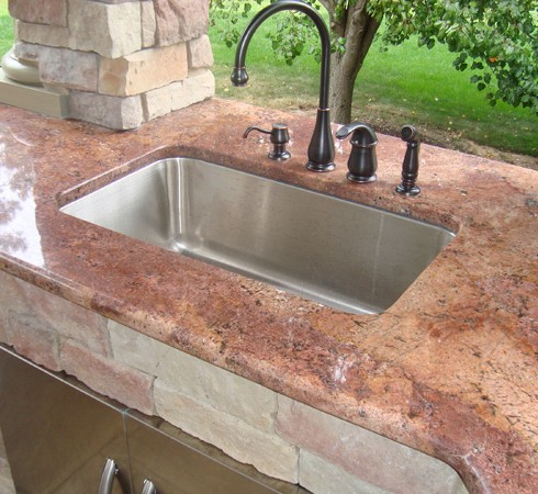 backyard stone countertop