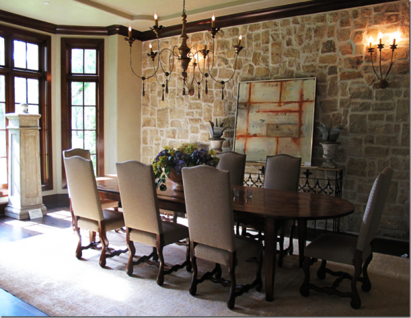 Formal dinning with stone veneer image